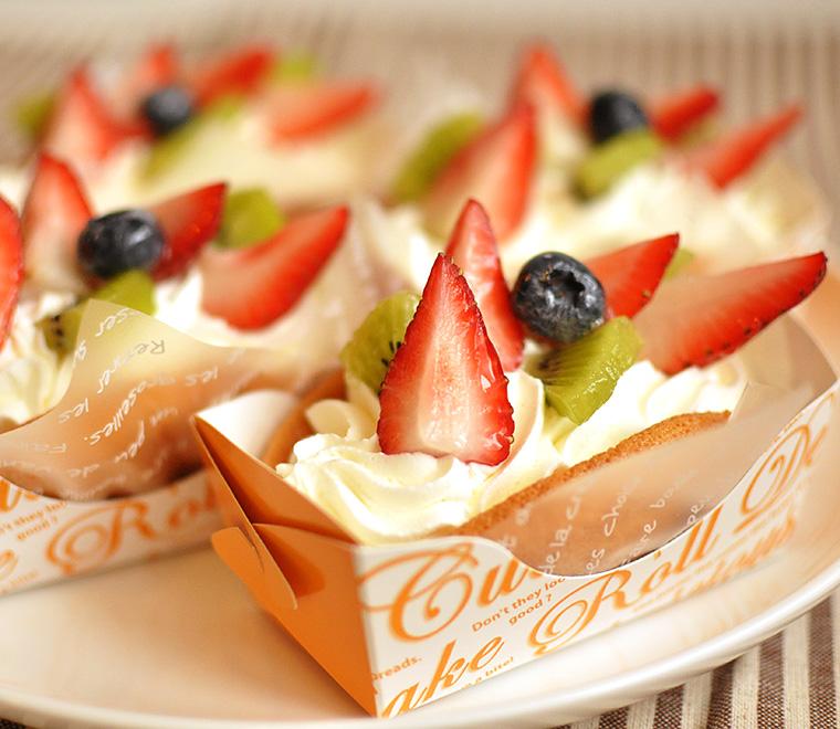 Wクリームのフルーツオムレット