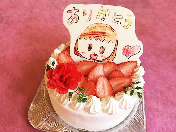 色鉛筆ver 母の日似顔絵ケーキ